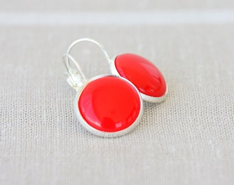 Red dangle earrings bright red earrings red drop earrings red cabochon earrings red jewelry everyday jewelry