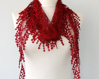 Burgundy lace scarf belly dance hip scarf lace shawl fringe scarf lace headband lace wrap fashion scarves for women dark red head wrap
