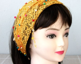 Yellow lace headband beaded scarf lace hip scarf adult women headband bohemian head wrap lace hair wrap fall fashion scarves for women