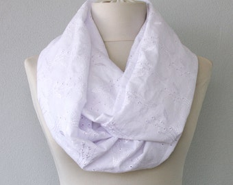 White infinity scarf chunky scarf white lace scarf cotton scarves for women fall fashion accessories circle scarf loop scarf tube scarf