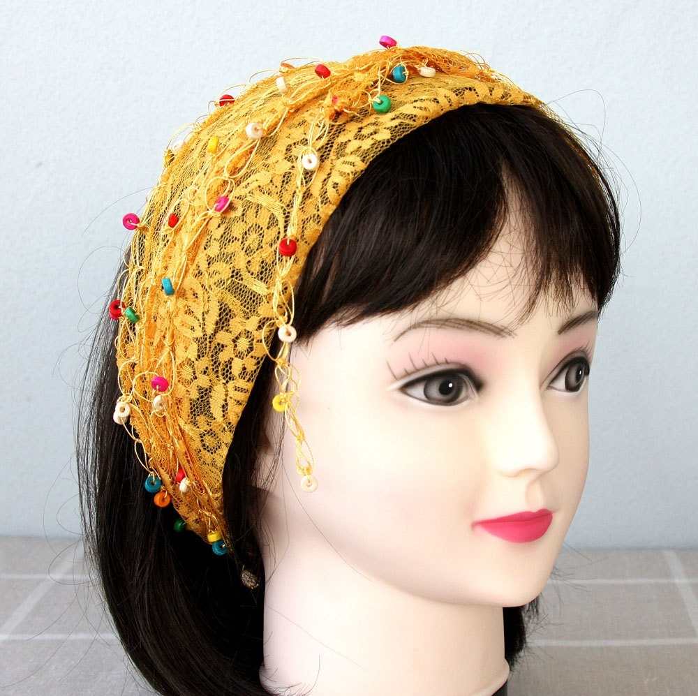 yellow lace headband beaded scarf lace hip scarf