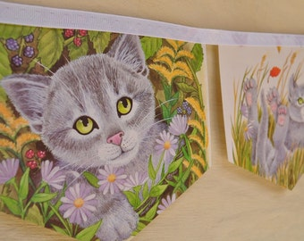 PUSSY WILLOW Banner Vintage Little Golden Book Bunting Banner Paper Children Repurposed Party Decoration Cat Patricia Scarry