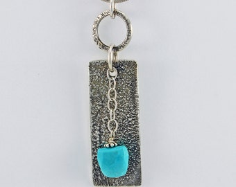 """Handcrafted Sterling Silver Sleeping Beauty Turquoise Pendant """"Zen Melody"""" Texture Patina One of a Kind Artisan Jewelry Design 7919527582915"""