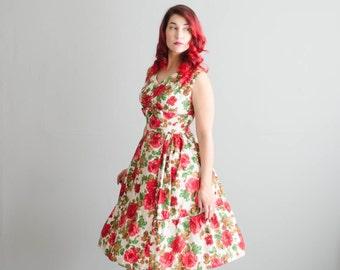 1950s Floral Dress - Vintage 50s Rose Print Dress - All My Love Dress