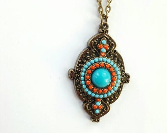 Brass Bali-style pendant necklace - Turquoise drop necklace -boho chic