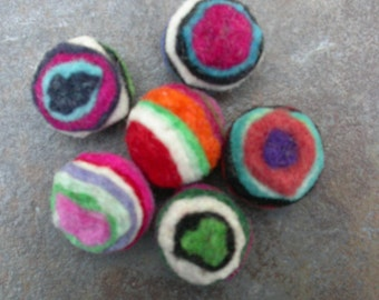 Wool Felt Beads from Dimensions Felt Works, 100% Wool Striped Multi-Color Balls, Beads for Felting, Crafts, Jewelry, New Package of 6