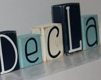 Custom Distressed Nursery Decor - Shabby Chic Boy Nursery - Distressed Letter Block - Shabby Chic Name - Blue and Cream Decor - Letter Block