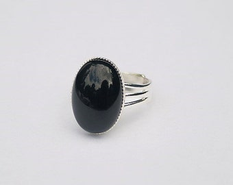 Black Onyx Ring Black Stone Ring Black Gemstone Ring Black Oval Ring Black Onyx Gemstone Black Ring