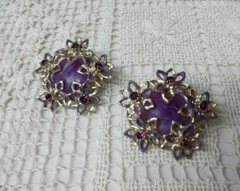 Purple Art Deco Clip earrings