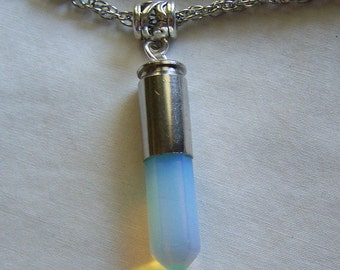 Opalite Crystal Silver Bullet Jewelry Pendant