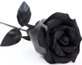 Black leather rose third Anniversary wedding gift Long Stem leather Flower Valentine's Day 3rd Leather Anniversary Mother's Day