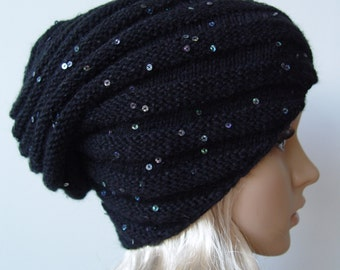 Knitted black snail hat, beanie hat, sequins, payette, slouchy hat
