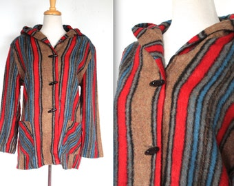 Vintage 1970s Hooded Jacket // 70s Red Blue and Tan Striped Sweater Jacket // Toggle Coat