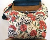 SKULL BAG - Crossbody Bag - Goth Bag - Skull and Roses - Hippie Bag - Hippy Bag - Large Bag - Skull Purse - Boho Bag - Day of the Dead