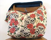 SKULL BAG - Crossbody Bag - Goth Bag - Hippie Bag - Slouch Bag - Hippy Bag - Large Bag - Skull and Roses - Vegan Bag - Sling Bag - Big Purse