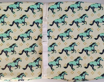 Horse Crib Bedding- Changing Pad Cover / Aqua Crib Sheets / Babiease Baby Boutique /Mustang Baby Bedding / Toddler Bedding /