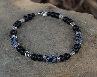 Todos Santos - 8.5 Inch Handcrafted Gemstone Bracelet - Metal Alloy, Snowflake Obsidian & Glass - SGArtCA - Tribal Chic Jewelry