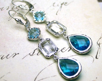 Long Blue Jeweled Earrings - Long Teardrop Crystal Earrings in Silver and Aqua Blue - Sterling Silver Leverbacks