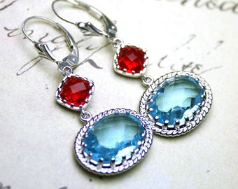 Moroccan Jeweled Earrings - Gothic Earrings in Aqua Blue And Siren Red - Sterling Silver Leverbacks