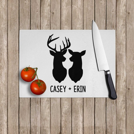 Personalized buck doe tempered glass cutting board - Tempered glass cutting board personalized ...