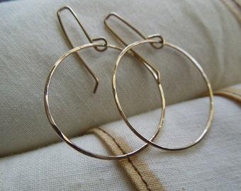 Gold Endless Hoops-Textured 14 Kt. Gold Filled Hoops-Flow