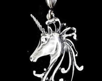 Unicorn Head Pendant in Sterling Silver