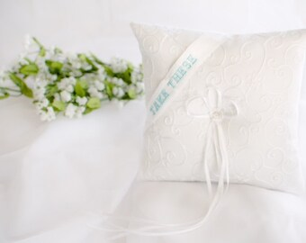 Personalized Embroidered Traditional Ring Bearer Pillow - Something Blue.