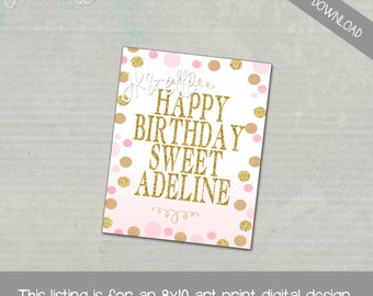 Gold Glitter and Pink Polka Dots Happy Birthday Sign