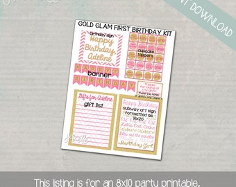 Gold and Glamorous Birthday Party Set