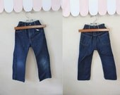 vintage 1970s toddler's jeans - SPACE BLUE indigo denim pants / 5T