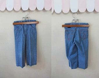 vintage 1970s toddler's jeans - BARROW chambray faded denim pants / 4T