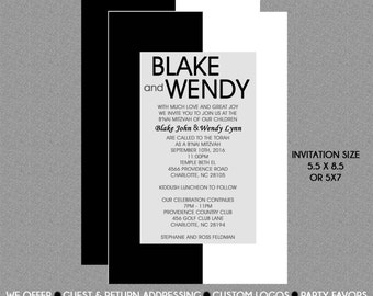 B'Nai Mitzvah Invitation - Black and White - Save the Date Card - RSVP Card - Thank You Note - Information Card - Envelope Addressing