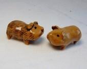 Guinea Pig - Cavy Miniature - Pottery Figurine - Miniature Guinea Pig - Terrarium Guinea Pig - Miniature Figurine - Peggy Hamlin