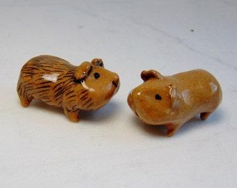 Guinea Pig - Cavy Miniature - Pottery Figurine - Miniature Guinea Pig - Terrarium Guinea Pig - Miniature Figurine - Brown Guinea pig