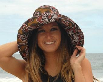 Hawaiian Fashion Sun Sun Hat Wide Brim Beach Sun Hat Freckles California Size S, M, or Large