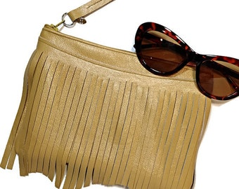 Ladies Leather Clutch, Leather Clutch, Leather bag, Leather Fringe Clutch, Bridesmaid Gift, Gift for Mom, Gift for Girlfriend