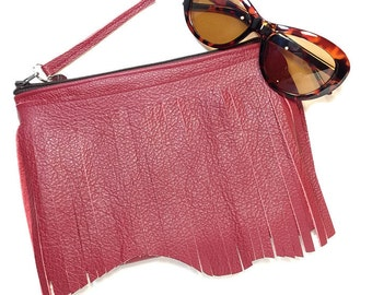 Leather Clutch Fringe Clutch, Red Repurposed Leather Clutch, Leather Fringe Bag
