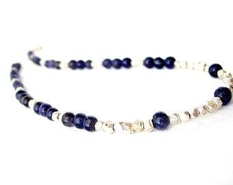 Iolite and Hill Tribe Silver Necklace