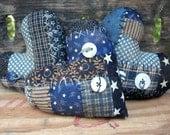 Primitive Patchwork Heart blue bowl fillers   ..... set of 3