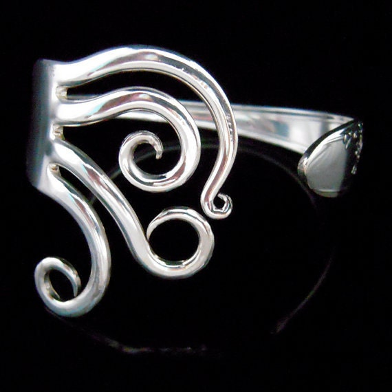 Sustainable Jewelry, Recycled Fork Bracelet in Curly Design Number Five
