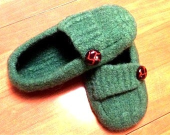 Felt Wool Slippers /  Handmade Felt lippers Knit  /  Womens Slippers Shoes / French Press Slippers