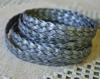 1 Meter 10mm Flat Braided Leather Cord Metallic Silver 5 Strands