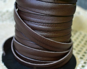 10mm Chocolate Brown Deertan Leather 2 Yard Soft Cord Lace
