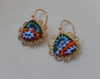 Millefiori Earrings, Italian Earrings, Small Dangle, Glasswork Earrings, Gift for Her