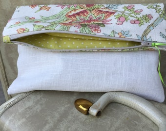 Foldover clutch two-tone beige jacobean floral linen e-reader tablet case tropical cruise-wear bridesmaid prom wedding