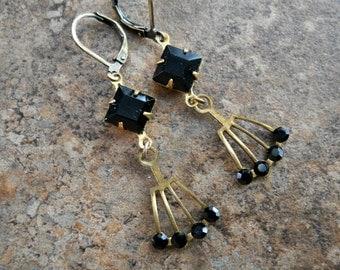 Art Deco Ebony Swarovski Earrings in Brass