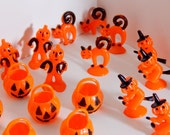 Vintage Halloween Lot of Cake Cupcake Decorations Orange & Black Pumpkins Scarecrow Pumpkin Head Kitty Cats Witches 50's 60's Mid Century