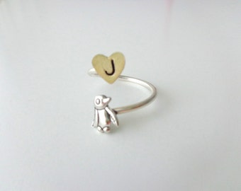 silver penguin heart ring wrap style, adjustable ring, animal ring, silver ring, statement ring