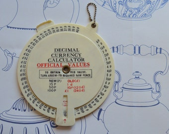 Decimal Currency Calculator, UK Decimalisation, 2 Sided Dial Convertor, Collectible, 1970s, UK Monetary System, Cream Red Black