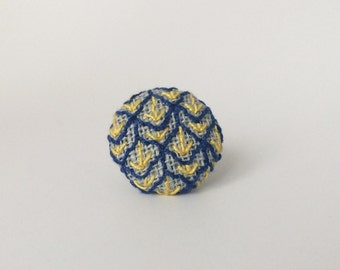 Lapel Pin. Blue and yellow arrow embroidered Tie pin